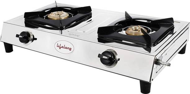 Lifelong Stainless Steel 2 Burner, ISI Certified Stainless Steel Manual Gas Stove