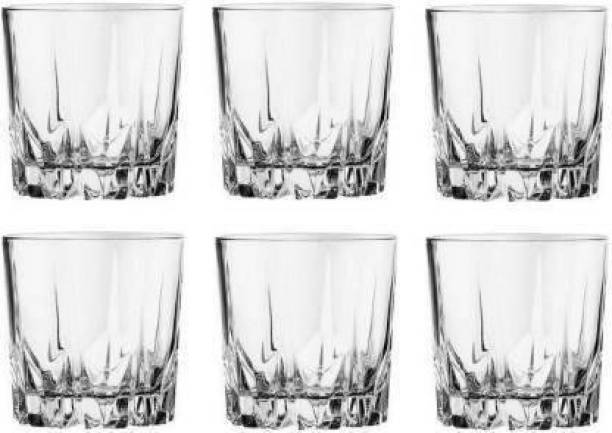 SARDAR CREATION (Pack of 6) Crystal Heavy Base Whisky Glass Set, 6 Piece, Clear Glass Set