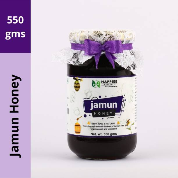 HAPPIEE NATURALS HONEY - Jamun Raw Honey | 100% Pure and Natural | Unheated, Unprocessed, Unpasteurized, Unadulterated and Free from Chemicals | Good for Health, Diabetes Management, Immune Booster and Weight Management | Medicinal Values and Ayurvedic Recommended | Direct from Farm to Table