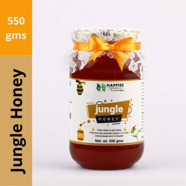 HAPPIEE NATURALS HONEY - Jungle Raw Honey | 100% Pure and Natural | Unheated, Unprocessed, Unpasteurized, Unadulterated and Free from Chemicals | Immune Booster, Source of Nutrition, Weight Management and Good for Health | Bioenhancer, Yogavahi | Direct from Farm to Table