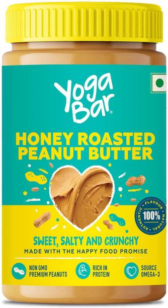 Yogabar Honey Roasted Crunchy Peanut Butter 400g   Sweet, Salty and Crunchy   Non GMO Peanut Butter   Omega 3   Rich in Protein 400 g