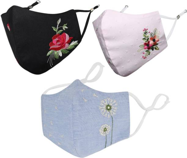 MASQ Anti-Pollution, Anti-Bacterial (BFE>99%) 4 Layer Embroidered, Designer, Fashionable & Protective 100% Cotton Cloth Face Mask for Women, Girls with Size Adjustable Ear Loops & Mask Bag Floral_Combo_Medium_03 Reusable, Washable Cloth Mask