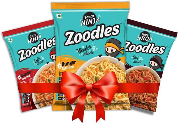 Tasty Ninja Zoodles ( Pack 16 ) ( 4 Soy Masala and Indie Masala with 8 Wonder Masala, 60gm Each ) Instant Noodles Vegetarian