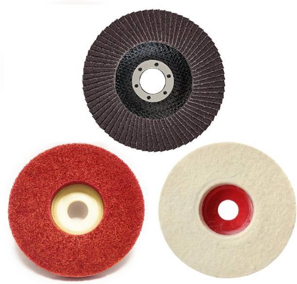 "CoolTool Combo of Abrasive Flap Disc, Non-Woven Felt Buffing Wheel & Nylon Fiber Polishing Wheel for Sanding, Buffing & Polishing (Set of 3 Pieces) (4"" Inch) (Multicolour) Metal Polisher"