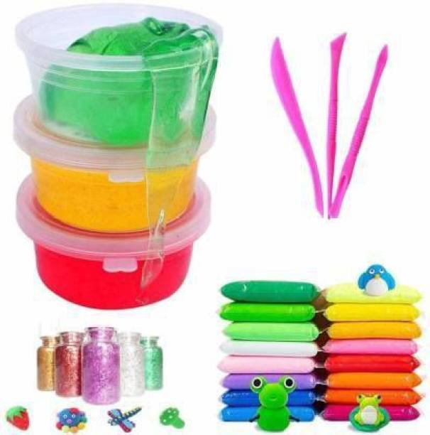 BVM GROUP 3 Crystal Slime and 12 Air Dry Clay Non-Toxic Combo with Free Glitter and Tools for Kids Boys and Girls Party Set/Mud Stress Relief Toy Multicolor Putty TOYS FOR KIDS Multicolor Putty Toy