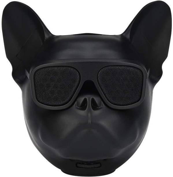 Creative Dizayn Creative dizayn Bull Dog Face Bluetooth Speaker with HD Sound Quality Portable Subwoofer 3.5mm Aux & TF Card Support-Black with Google Assistant Smart Speaker