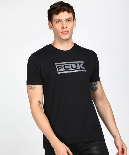 French Connection Printed Men Round Neck Black T-Shirt