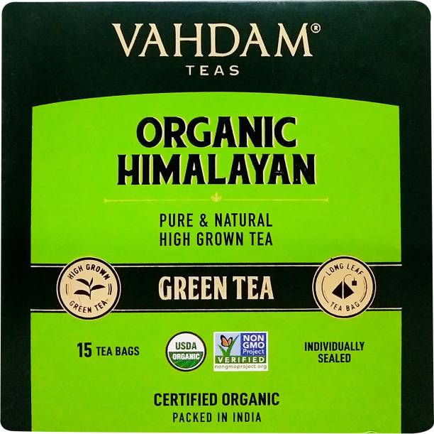 Vahdam Organic Himalayan Green Tea Bags Box
