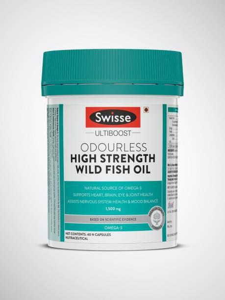Swisse High Strength Fish Oil Omega 3 for Heart, Brain, Joints & Eyes (40 Tablets)