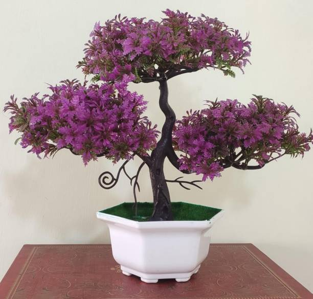 BK Mart Beautiful 3 Branches Bonsai Wild Artificial Plant  with Pot
