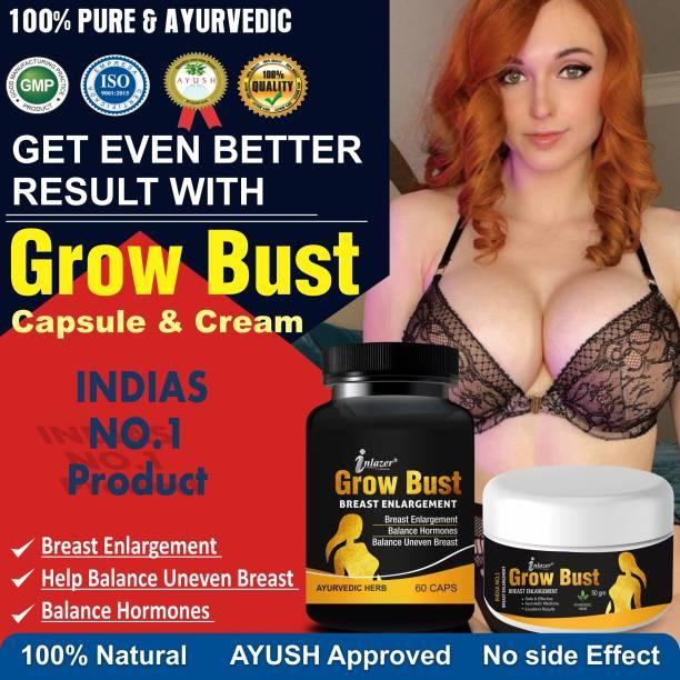 inlazer Grow Bust Herbal care Capsules And Cream For Women's Heath 100% Ayurvedic