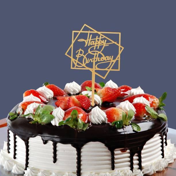 CSEL Happy Birthday Golden 2 Square Acrylic Cake Topper Baking Sparkles Cake Topper