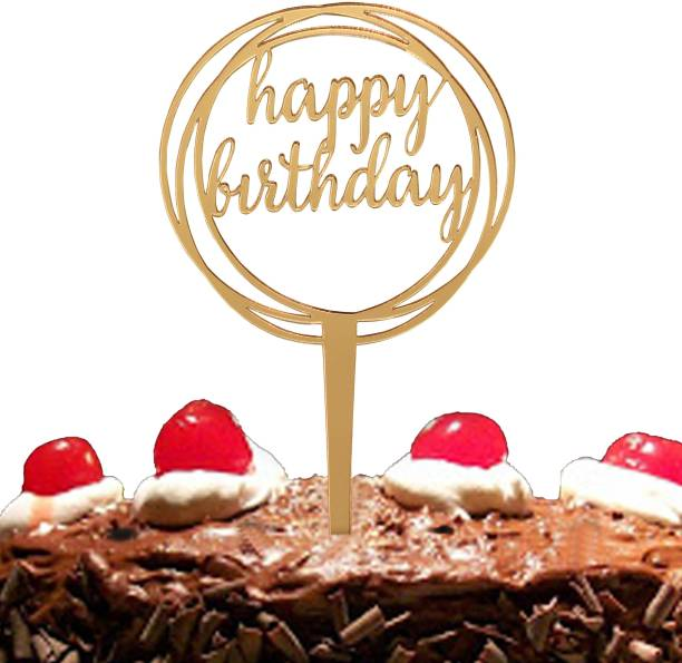 CSEL Happy Birthday Golden Acrylic Round 1 Cake Topper Baking Sparkles Cake Topper