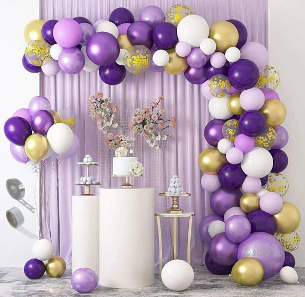 SOI Solid 92 Pcs Purple Gold White Balloon Garland Kit Decoration for Wedding Birthday Baby Shower Party Decorations Balloon Balloon