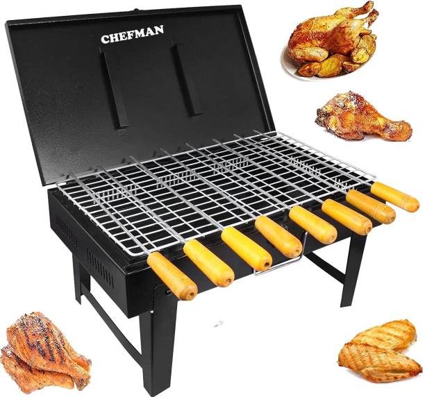 Chefman Briefcase Foldable Portable & Picnic Barbeque with 8 Skewers,1 Iron Grill Black (Make In India) Charcoal Grill