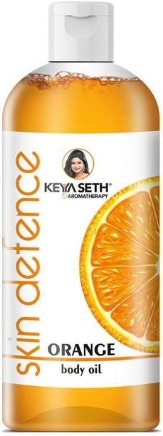 KEYA SETH AROMATHERAPY Skin Defence Orange Body Oil Skin Lightening, Rejuvenating Non-Sticky for Daily Use After Bath, Massage Oil Enriched with Orange & Vitamin C