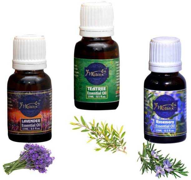 MORIOX Lavender Oil, Tea tree oil and Rosemary essential oils for Hair,Skin & Aromatherapy 100% Pure & Natural Oils