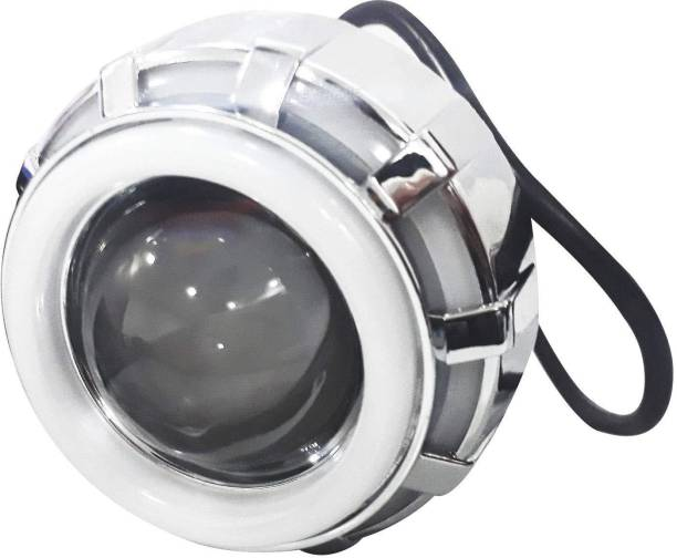 AllExtreme EXDRPRW1 High Intensity Led Projector Lamp Stylish Dual Ring COB LED Headlight with Hi/Low Beam and Flasher Function for All Bikes (15W, Red & White) Projector Lens