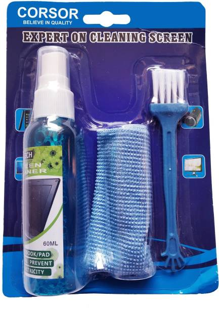 CORSOR Screen Cleaning Kit for PC, Laptops, Monitors, Mobiles, LCD, LED, TV/Professional Quality with Micro Fibre Cloth and Brush for Computers, Laptops, Mobiles
