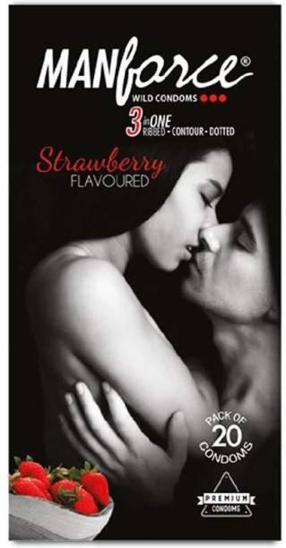 MANFORCE Wild Condoms Strawberry Flavoure (20pcs) Condom