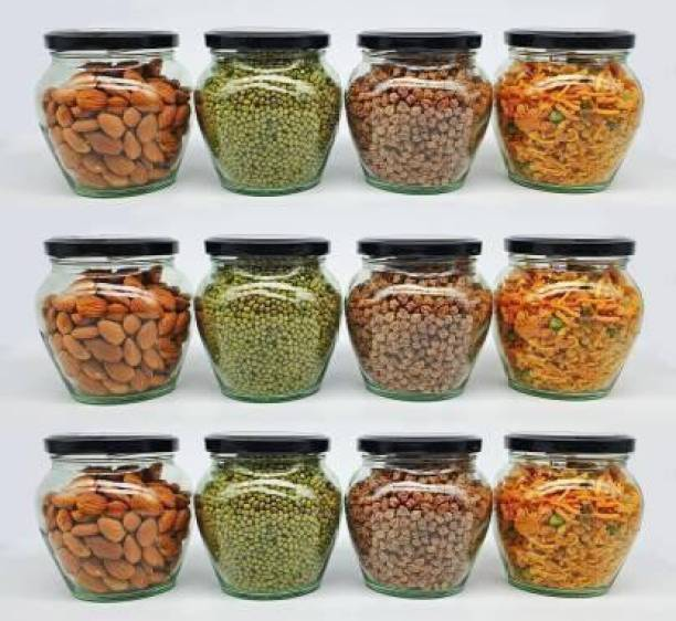 Buzon Kitchen Storage Glass Jar, Matka Shape, Honey Storage Container with Air Tight Metal Lid, - 400 ml Glass Grocery Container (Pack of 12, Clear)  - 400 ml Glass Grocery Container