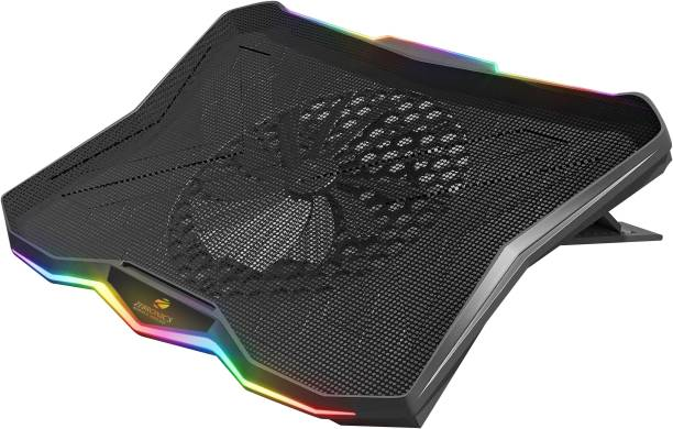 ZEBRONICS Zeb-NC7000 USB powered Laptop Cooling Pad for Laptops/Notebook up to 43.18cm (17), Large 170MM Fan with Controller, Silent Operation, Level adjustment, RGB Lights 1 Fan Cooling Pad