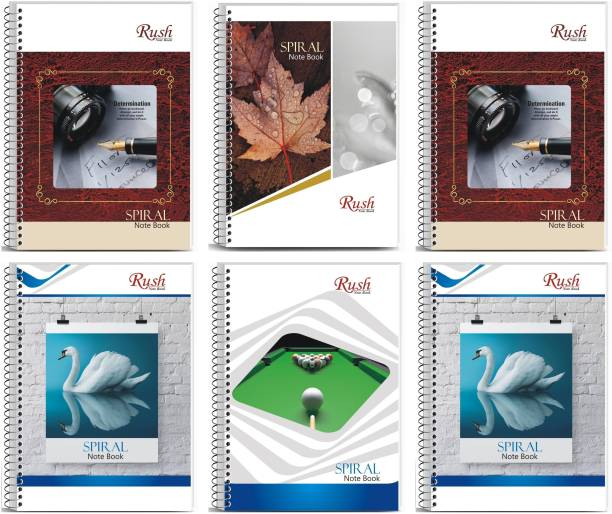 Rush 300 Pages Rough register Spiral binding Ruled A4 Size Notebook (Pack of 6) - Spiral Notebook register (White Pages) A4 Notebook Single Line Ruled 300 Pages