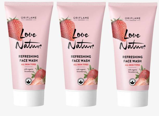 Oriflame Sweden ORIFLAME LOVE NATURE REFRESHING FACE WASH COMBO WITH ORGANIC STRAWBERRY 150ML - PACK OF 3 Face Wash