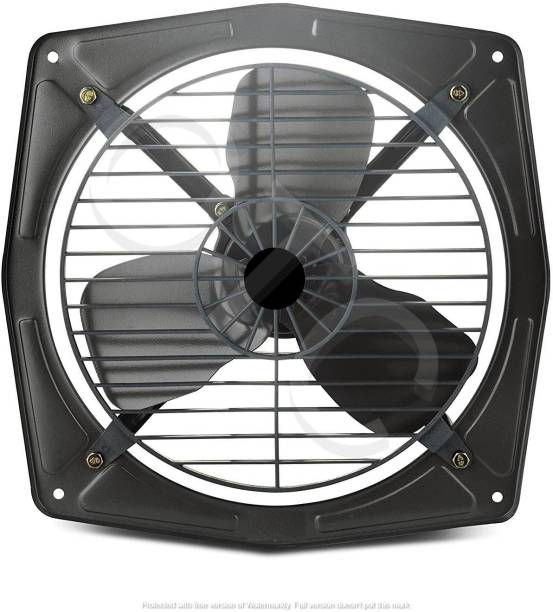 olles Fresh Air Copper Winding High Speed Metal Exhaust Fan for Kitchen and Bathroom, Office , 12-inch, Black 300 mm Energy Saving 3 Blade Exhaust Fan