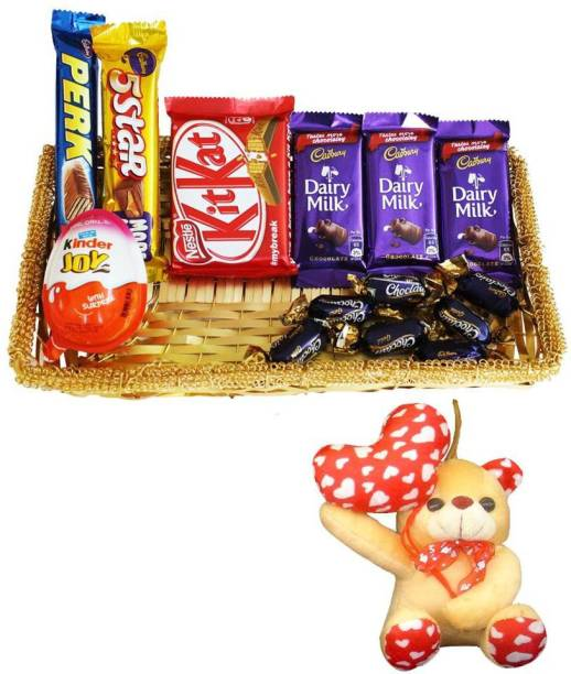 Cadbury Teddy With Chocolate Gift Basket Hamper | Valentine Surprise Gift Hamper Combo