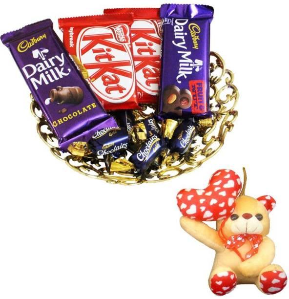Cadbury Teddy With Chocolate Hamper | Valentine Surprise Gift Hamper Combo