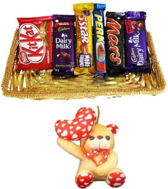 Cadbury Anniversary Gift and Chocolate Basket Hamper | Valentine Surprise Gift Hamper Combo