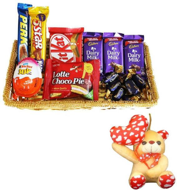 Cadbury Happy Anniversary Teddy With Chocolate Gift Basket Hamper | Valentine Surprise Gift Hamper Combo