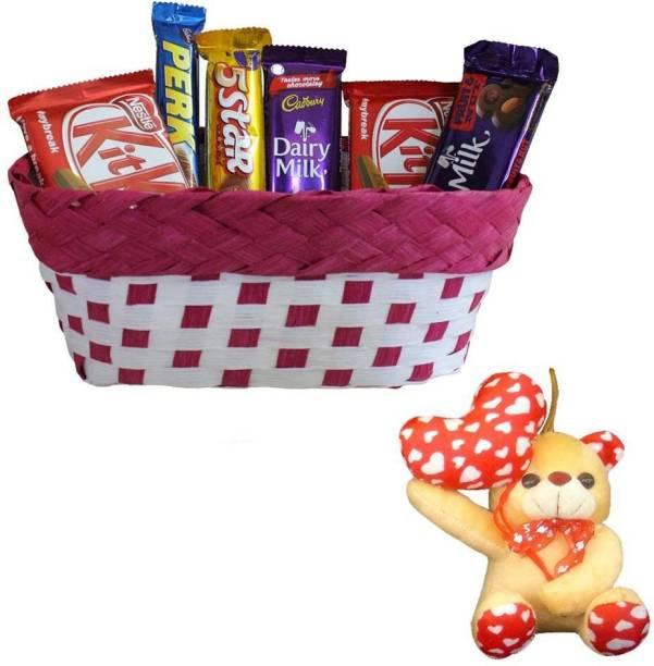 Cadbury Chocolate Gift Hamper With Happy Anniversary Teddy Bear | Valentine Surprise Gift Hamper Combo