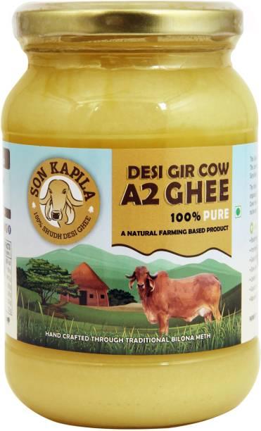 SONKAPILA Organic Farms A2 Cultured Pure Cow Desi Ghee Ghee 500 ml Glass Bottle