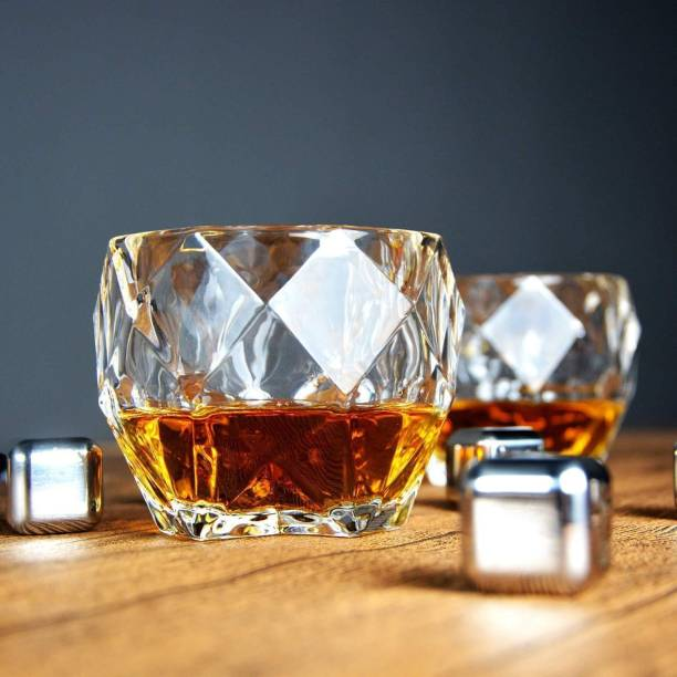 Redific (Pack of 4) New Fancy Design Glass Sets Combo Diamond Shaped Whiskey Glass Set of 4 Glass Set
