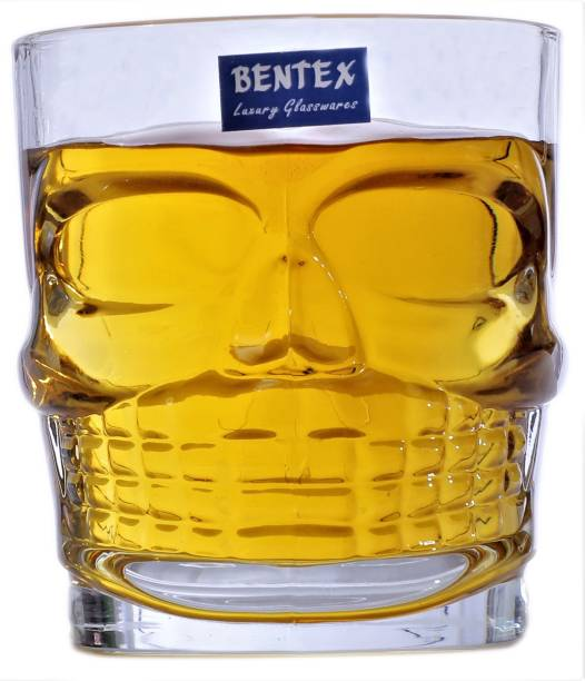 Bentex (Pack of 6) Skeleton/Skull Crystal Clear Unqiue 300 ML , Scotch ,,& Cold Drink Glass Glass Set