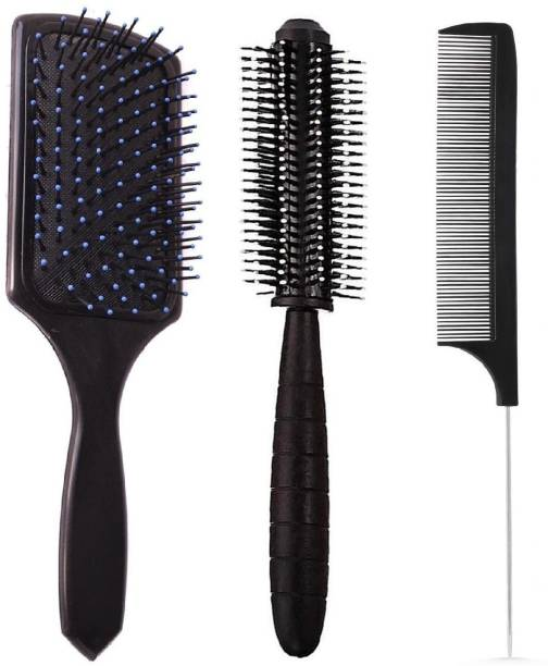 E-DUNIA Professional Smart Look Big Hair Paddle Rectangular Cushion Brush (1) & Hair Brush For Blow Drying Roller Hair Brush (1) & Black Carbon Rat tail , Sectioning comb with Steel Handle with Non-skid Paddle for hair styling (1) [ Pack Of 3 ]