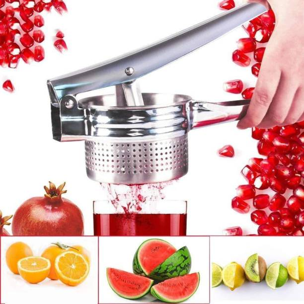 Coco Kitchen Steel Hand Juicer Steel Hand Juicer Stainless Steel Fruit, Vegetable & Food Masher and Juicer Best for - Orange Apple Watermelon Pomegranate Juice Squeezer, Potato & Rice Mashing (Silver Pack of 1)
