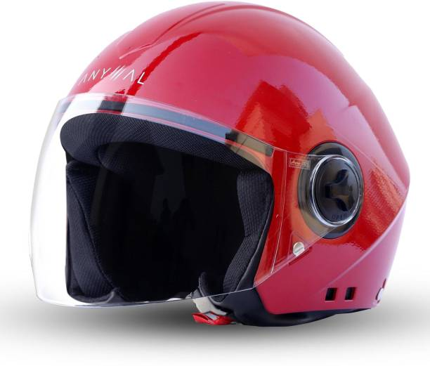 GoMechanic Anymal Series -Beetle Open Face Clear Visor Motorbike Helmet