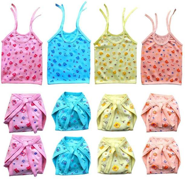 Bigbought Baby Zhabla (4 Pcs) And Nappy (Langot) (8 Pcs), Hosiery Soft Quality Branded Cloth Material, 0-6 Months