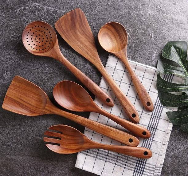 SIFU COLLECTION Wooden Kitchen Utensil Set 6 Cooking Utensils Spatula Spoons for Cooking Nonstick Cookware, 100% Handmade by Natural Teak Wood (Pack of 6) Wooden Serving Spoon Set