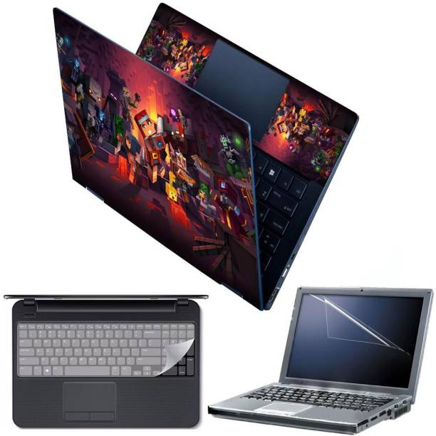 FineArts 4 in 1 Combo Pack with Laptop Skin Sticker Decal, Palmrest Skin, Screen Protector, Key Guard for 15.6 Inch Laptop - Dungeons Combo Set