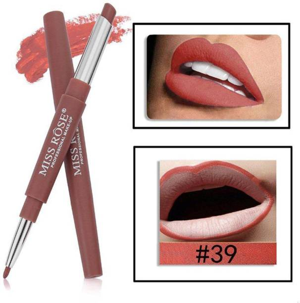 MISS ROSE 2 In 1 Matte Lip Liner Pencil Lipstick Waterproof Long-Lasting Lip Makeup (2) - Pack of 1