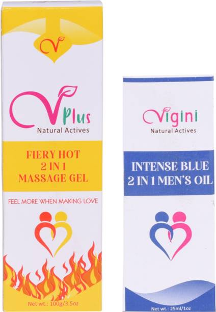 Vigini Plus 100% Natural Actives Fiery Hot 2 In1 Aromatherapy Massage Gel & Intense Blue Oil Effective Lubricant Lube Gel Jelly Water Based Lubricating Lubrication No Added Color wash able for Men,125 Grm Lubricant
