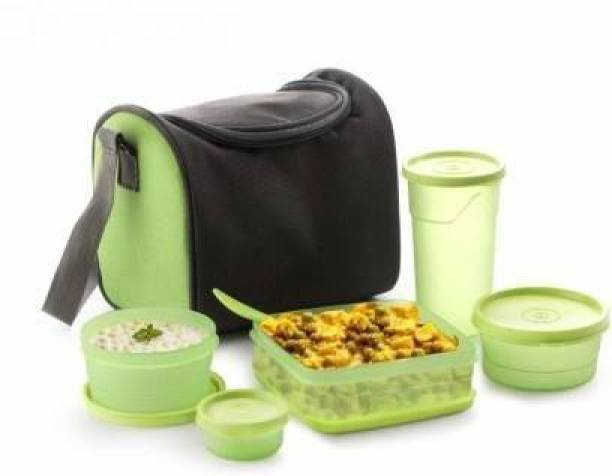 SONANI Eat Fresh Tiffin Lunchbox with Bag Leak Proof Heavy Quality Fresh Sling 5 Container Lunch Box with Bag(Multi-Color, Standard) 5 Containers Lunch Box 5 Containers Lunch Box