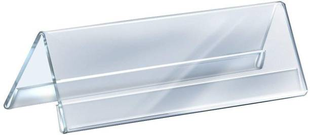 STASTORE Glass Acrylic V Shaped 2 Sided Display Stand Name Plate (Transparent) Name Plate