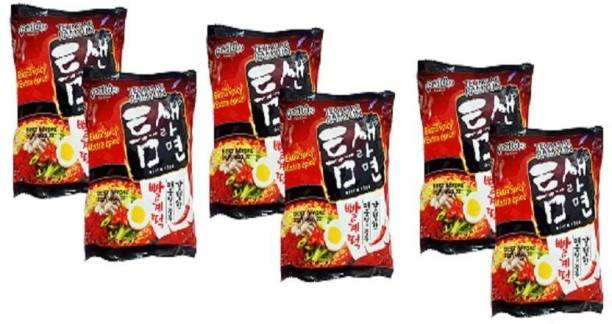 Paldo Teumsae Ramyun (EXTRA SPICY,EXTRA EPICE)Instant Noodles120 g(Pack Of 6 )(120gX6) Instant Noodles Vegetarian