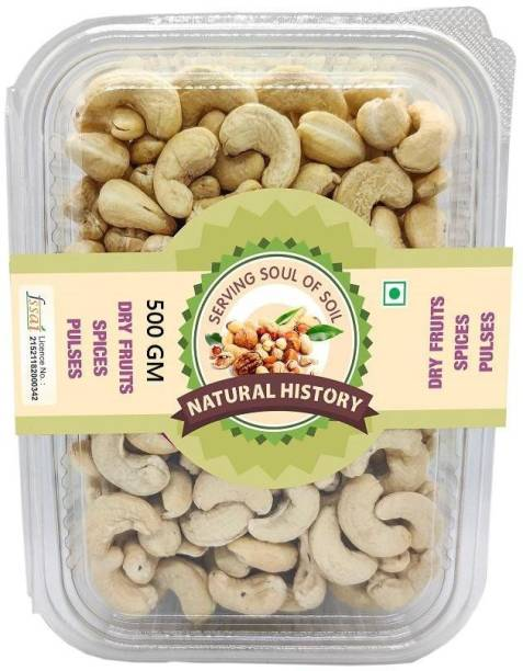 natural history Brand - W-320 Cashewnuts 500 Gm (Pack Of 1 ) Cashews