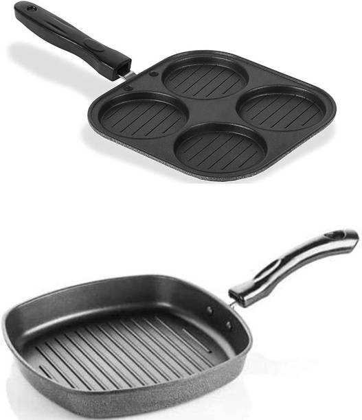 Coozico GRILL PAN Easy Way to Grill Veggies at Home If you want to indulge in tasty and healthy grilled food items, you no longer have to invest in bulky and inconvenient outdoor grills as the grill pan is an efficient solution for you indoor cooking needs. Featuring a square shaped pan with a ribbed bottom, this grill pan helps you cooked grilled items such as kebabs,paneer, vegetables, and more within minutes. The ribbed base of this pan also helps in collecting fat, resulting in healthier food for your family. Smart Design that Combines Aesthetics with Functionality Made from high quality die-cast aluminium, the Nulomi grill pan ensures high heat conductivity, thereby providing high efficiency while cooking. Cookware Set